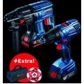 Професионален комплект: Перфоратор GBH 180LI (2 x 4,0 Ah) + GSR 180 + чанта за инструменти + топка Adidas в картонена кутия